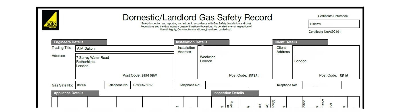AM Dalton Plumbing Landlords Gas Safety Record Image